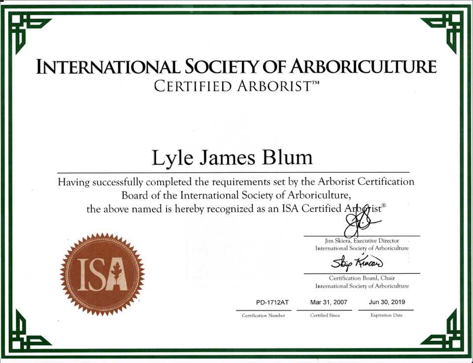 Certificates Page Tree Service